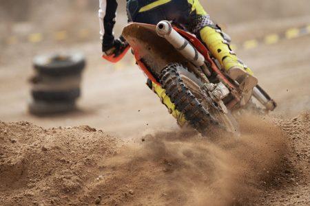 Person riding a dirt bike.