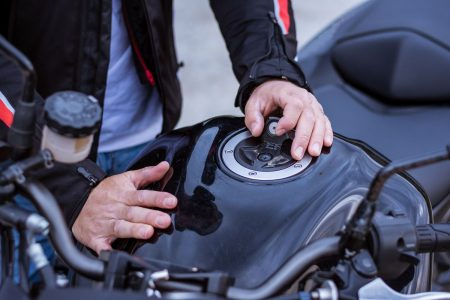 Gas cap on a motorcycle